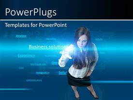 PowerPlugs: PowerPoint template with a beautiful girl with a number of options on the screen