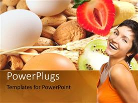 PowerPlugs: PowerPoint template with a beautiful girl with a number of vegtables and eggs in the background