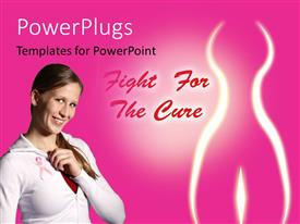 PowerPlugs: PowerPoint template with a beautiful girl with a pinkish background