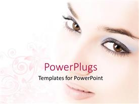 PowerPlugs: PowerPoint template with a beautiful girl with pinkish background