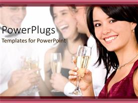 PowerPoint template displaying beautiful girl in red smiling with a wine in hand background people partying and laughing