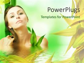 PowerPlugs: PowerPoint template with a beautiful girl in water with palnts in background