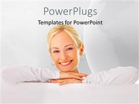 PowerPlugs: PowerPoint template with a beautiful girl with a white background