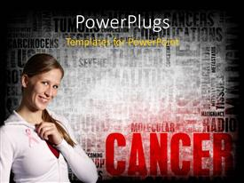 PowerPlugs: PowerPoint template with a beautiful girl with words in the background