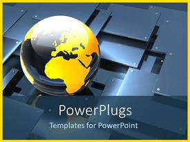 PowerPoint template displaying a beautiful globe and a number of sheets in the background