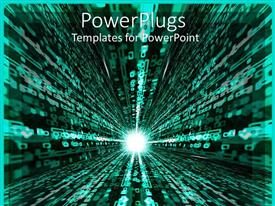 PowerPoint template displaying a beautiful glowing background showing symbol of new technology
