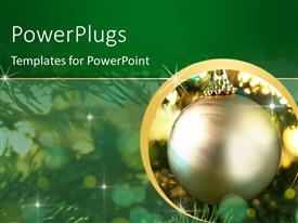 PowerPoint template displaying beautiful gold ornament hanging on decorated Christmas tree