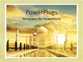 PowerPoint template displaying beautiful gorgeous image of the taj mahal in the sunset cloudy sky sunshine