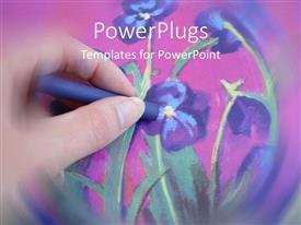 PowerPoint template displaying a beautiful hand painting of violet flowers with pinkish background