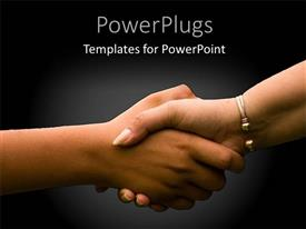 PowerPlugs: PowerPoint template with a beautiful handshake with blackish background
