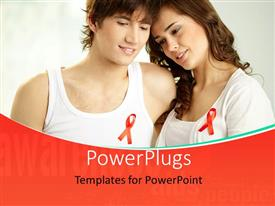 PowerPlugs: PowerPoint template with beautiful happy couple with red ribbon signifying AIDS awareness
