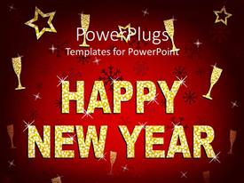 PowerPlugs: PowerPoint template with a beautiful happy new year background with celebration material
