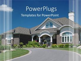 PowerPlugs: PowerPoint template with beautiful house with flowers and clean path