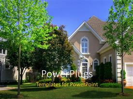 PowerPlugs: PowerPoint template with a beautiful house with lots of trees in the garden