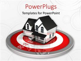 PowerPlugs: PowerPoint template with beautiful house on red and white metallic target over white surface