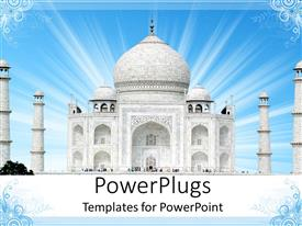 PowerPoint template displaying a beautiful illustration of the Taj Mahal on a blue background