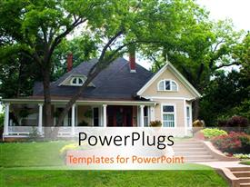PowerPlugs: PowerPoint template with beautiful isolated house in green field decorated with garden of flowers