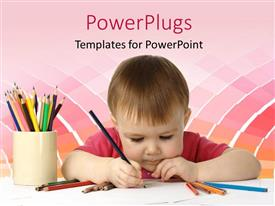 PowerPlugs: PowerPoint template with beautiful kid drawing with colored crayons on white piece of paper