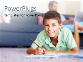 PowerPlugs: PowerPoint template with a beautiful kid with his father in the background