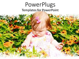 PowerPoint template displaying a beautiful kid with a lot of flowers