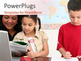 PowerPlugs: PowerPoint template with beautiful kids learning on red and white background