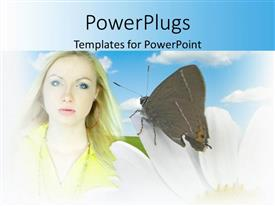 PowerPlugs: PowerPoint template with beautiful lady with a butterfly perching on a white flower