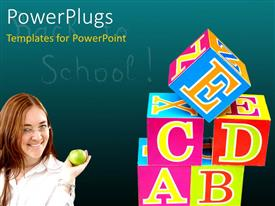 PowerPoint template displaying beautiful lady with green Apple in hand and colored 3D letter cubes