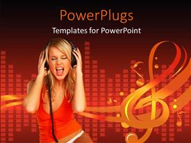PowerPoint template displaying beautiful lady with headphone on with music equalizer bars in background
