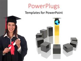 PowerPlugs: PowerPoint template with beautiful lady holding diploma with graduation cap on white background