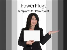 PowerPlugs: PowerPoint template with a beautiful lady holding a paper
