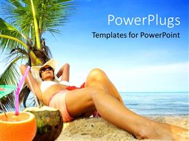PowerPoint template displaying beautiful lady leaning on palm on tropical beach with straw in lemon