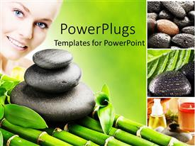 PowerPlugs: PowerPoint template with a beautiful lady with a number of zen stones