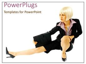 PowerPoint template displaying beautiful lady poses stylishly with hand bag on white background