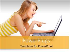 PowerPlugs: PowerPoint template with beautiful lady smiles with surprised expression as she points to laptop screen