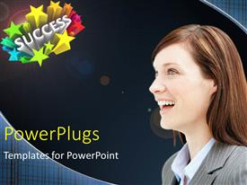 PowerPlugs: PowerPoint template with beautiful lady smiling with 3D rendering of SUCCESS and colored stars