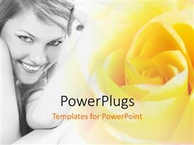 PowerPlugs: PowerPoint template with beautiful lady with terrific smile with yellow colored flower