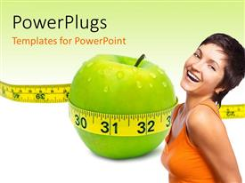 PowerPlugs: PowerPoint template with beautiful lady with yellow measuring tape around green apple depicting healthy diet