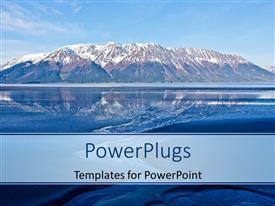 PowerPlugs: PowerPoint template with beautiful landscape of Alaska mountains with reflection in water