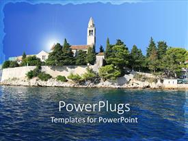 PowerPoint template displaying beautiful landscape view of Island with water ripples and trees