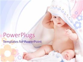 PowerPlugs: PowerPoint template with beautiful little kid playing with white towel and colorful background