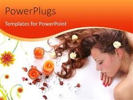 PowerPlugs: PowerPoint template with beautiful long-haired girl relaxing in spa salon with candles and flowers