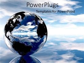 PowerPlugs: PowerPoint template with a beautiful metallic glass globe in blue skies with black continents