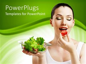 PowerPoint template displaying a beautiful model eating fruit and holding green vegetables in a plate