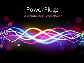 PowerPoint template displaying beautiful multi color electric waves with bokeh effect