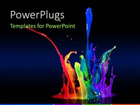 PowerPlugs: PowerPoint template with beautiful multi color paint splash with black color