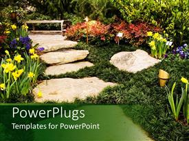PowerPlugs: PowerPoint template with a beautiful natural landscape with lots of colorful flowers