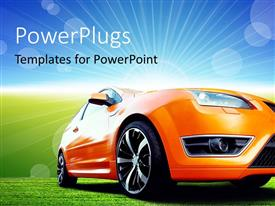 PowerPlugs: PowerPoint template with beautiful orange sport car on green ground with nice landscape in background