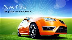 PowerPoint template displaying beautiful orange sport car on green ground with nice landscape in background