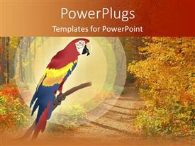 PowerPoint template displaying a beautiful parrot with greenery in the background