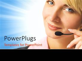 PowerPlugs: PowerPoint template with beautiful phone operator with headphone and microphone on blue surface